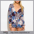 Newest Fashion Summer Sunscreen Blue Multicolor Long Sleeve Floral Print Tie Front Deep V Neck Beach Jumpsuit Rompers