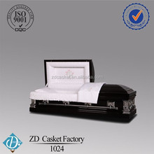 Black american style steel metal caskets coffins for sale 1024