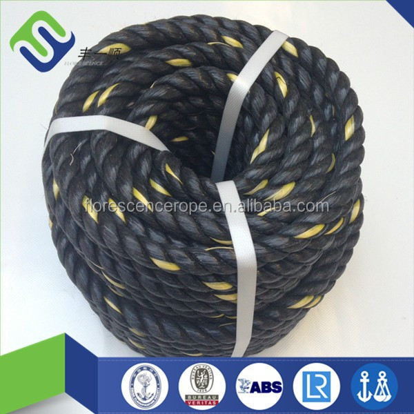 10mm black pp split film ropes with a yellow string hot sale