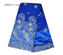 royal blue raw silk george fabric