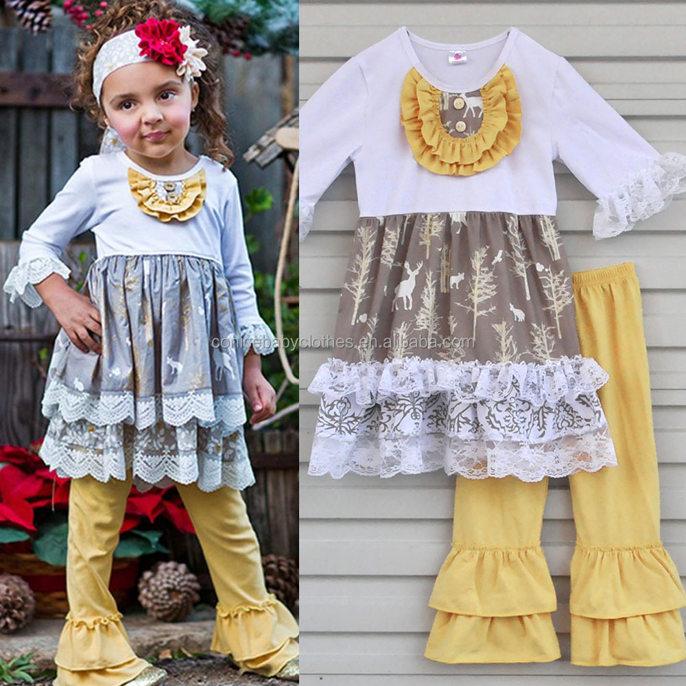 Wholesale children girl giggle moon remake fall boutique girl clothing set 2016