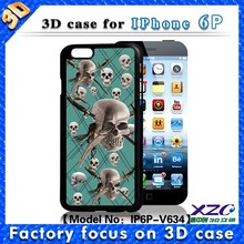 Wholesale best protect lenticular images tpu cell phone case for iphone 6 plus, case with 3D skull and knife