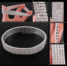 wholesale women stretch five row crystal anklets with retail packing