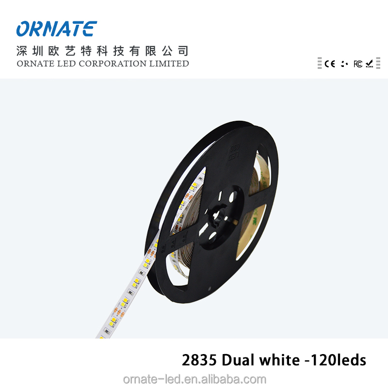 dual color led strip light 2835 5630 2216 dimmable waterproof 120 leds warm white+pure white CCT Adjustable flexible led strip