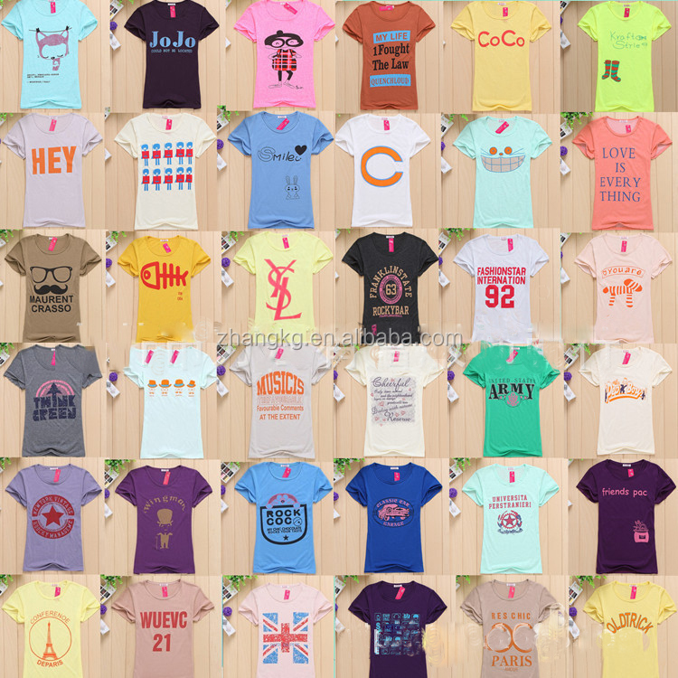 High Quality New Style Custom Made Sweet Teen girls printed T shirt