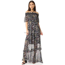 high quality woman off shoulder long one piece dress floral print beach dress chiffon maxi dress wholesale