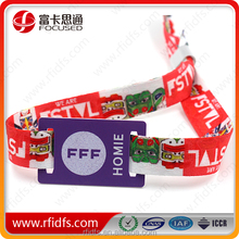 Free samples !! Best price MIFARE Woven fabric RFID wristband for festival & concert good quality