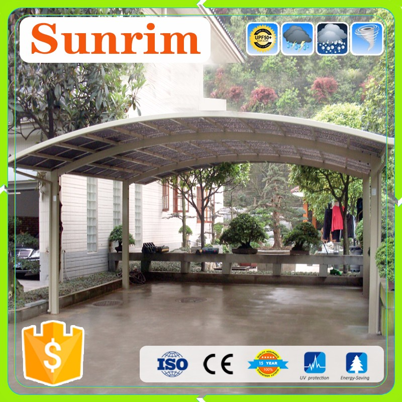 Outdoor Galvanized Steel Metal Aluminum frame Double Carport with polycarbonate roof