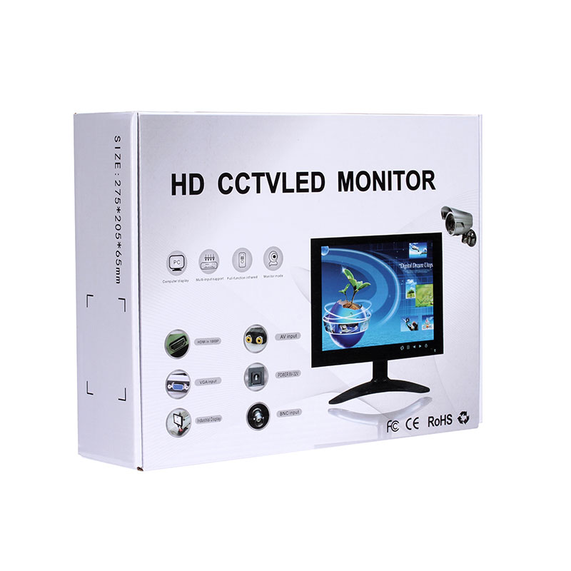 720P metal case 12 inch IPS wall mounted cctv camera monitor