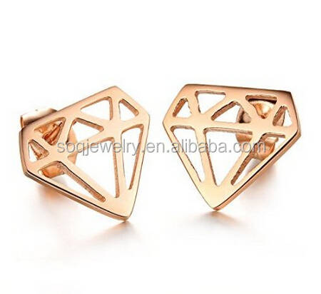 Fashion Stainless Steel Hollow Design Jewelry Earrings Diamond Cutting Geometric Summer Jewelry