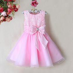 2015 New Design Baby Girls Party Dress Hot Pink Dresses With Bow Infant Princess Flower Dresses for Children Wear GD31115-20