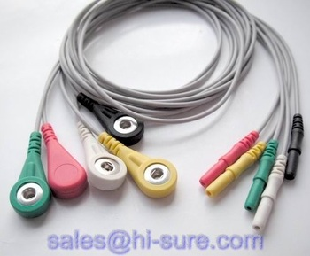 5 lead ECG cable for ECG equipment,ECG conductive electrode cable
