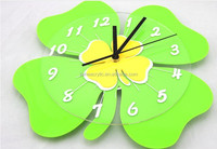 plexiglass wall color perspex wall mounted clock acrylic green color flower shaped wall clock wholesale