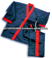 Kick Boxing Uniform Full contact uniform in satin. In medium weight satin, jacket Belt on trousers red strip . 8-cm elas