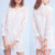2018 Elegant summer white v-neck hollow long sleeve casual dress for women