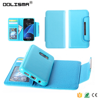 2016 Wholesale Premium Leather Mobile Phone Flip Cover Case / Card Slots 2 in 1 Case for Samsung Galaxy S7 S7 edge