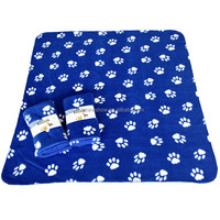 Thick Double Paw Pattern Printed Polar Coral Fleece Blanket Set 120X120cm Warming Super Soft Cotton Blanket 100% Polyester