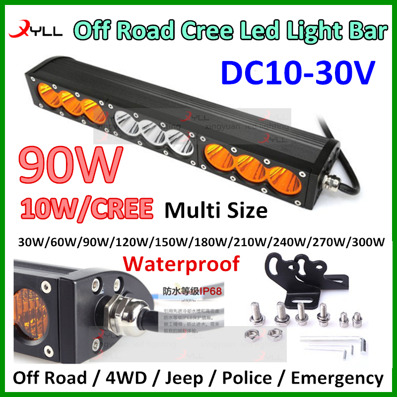 90w 16.6 inch off road led driving head light bar spot flood beam waterproof IP68