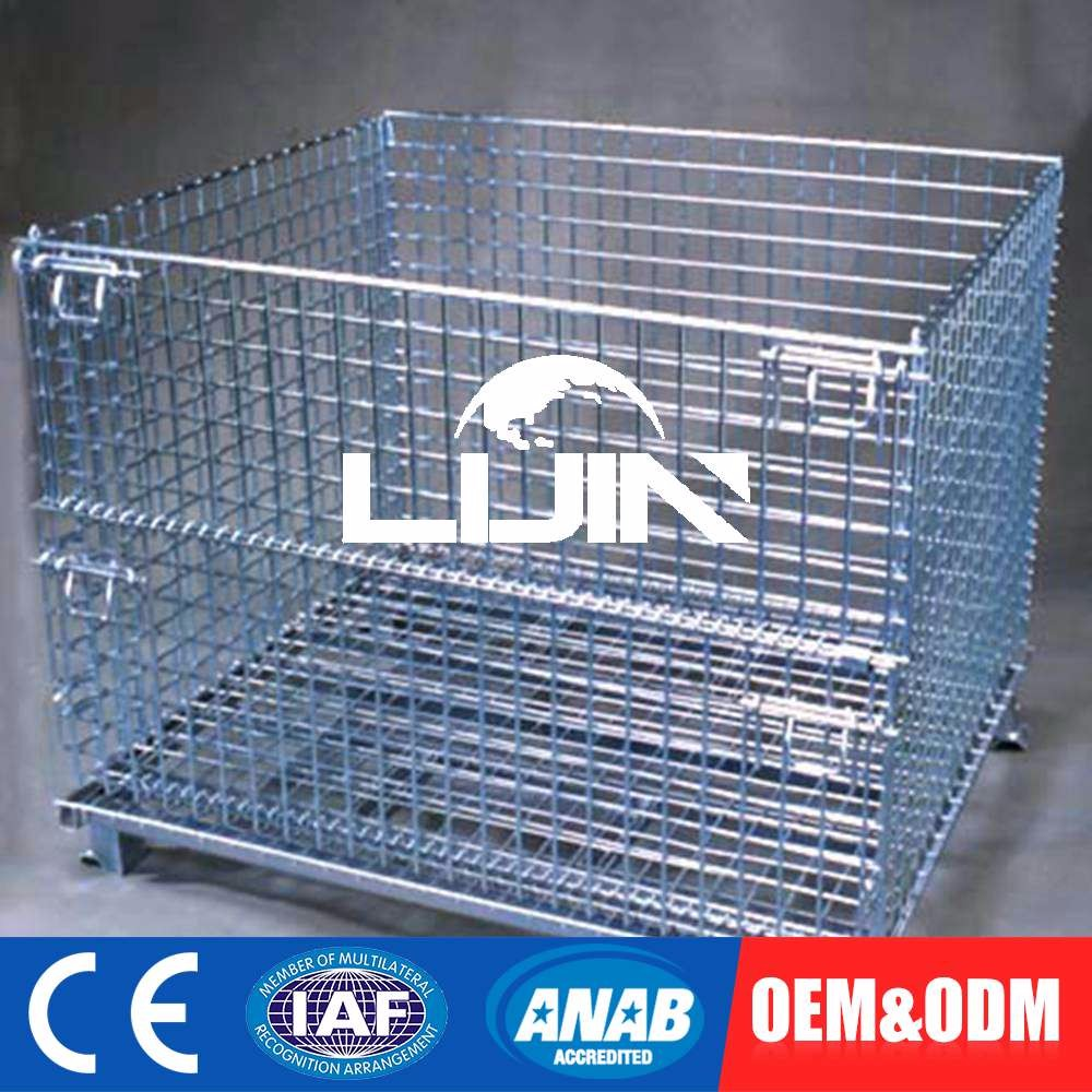 Customized OEM Foldable Selective Metal Cage Wire Storage Container With Caster