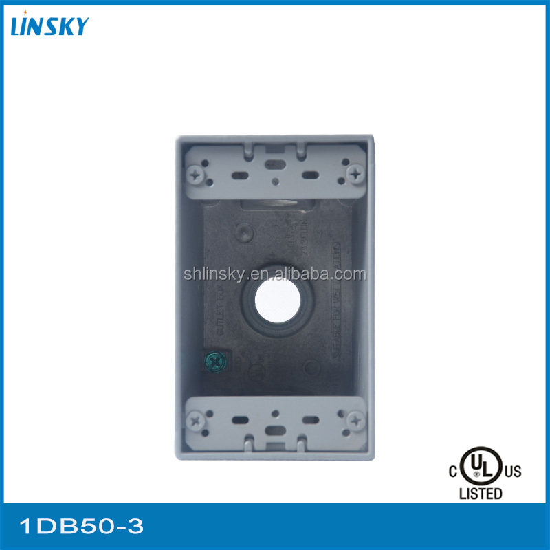 Linsky Single Gang 1/2 Hole Size Deepth 3 Outlets Weatherproof Electrical Box