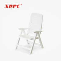 Plastic white outdoor relax reclining folding lounge chair with armrest