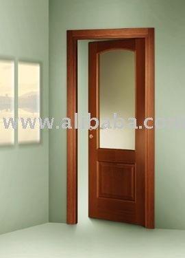 S lida puerta de madera con vidrio puertas identificaci n for Puertas de madera con cristal
