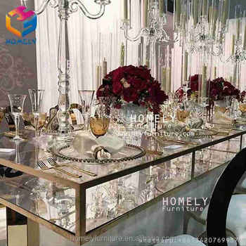 kitchen wedding hotel banquet metal rectangle tempered crystal glass top stainless steel frame dinning table legs