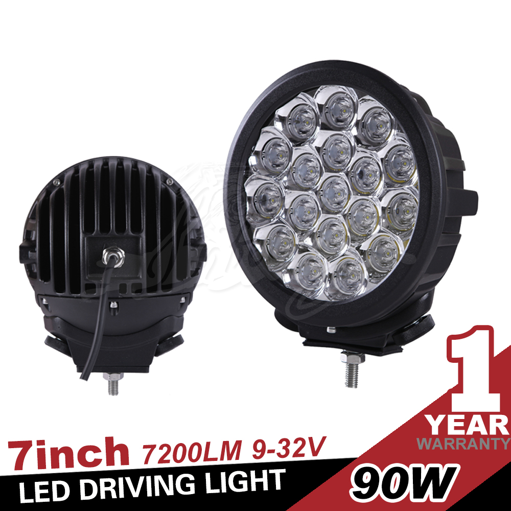 7 Inch 7200LM 12v and 24v 90w Round Black LED Headlight for Motorcycle