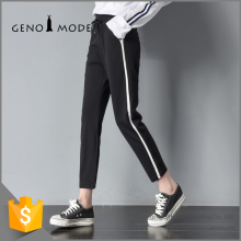 Lastest Casual Elastic Flat Waist Knitting Long Loose Wide Leg Woman's Pants Black