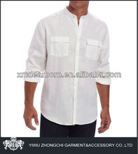 casual banded collar shirts for men