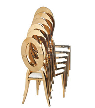 B8030 Gold stackable metal dining table chair for wedding