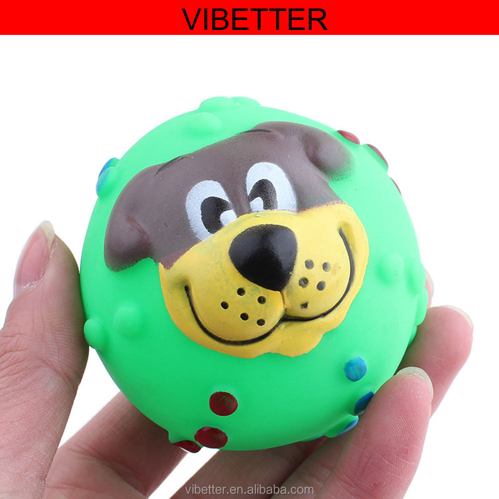 TOY-009 Dogs face ball pet toys Custom plastic dog face ball,vinyl funny pet toy,OEM plastic vinyl PVC bouncy ball for pet