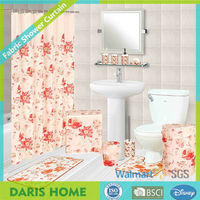 New Flower Design Custom Printed Shower Curtain Set, Shower Curtain with Matching Window Curtain Factory