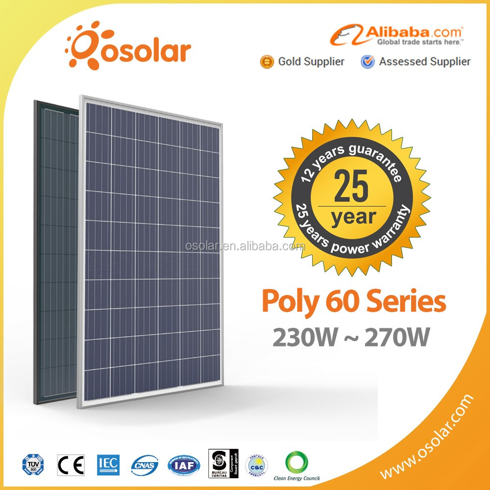 High quality best price 60 cell poly solar photovoltaic panel 250 260 270 watt