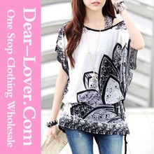 Hot Fashion Thailand Clothing Designs Flowers Chiffon Blouse Cheap prices