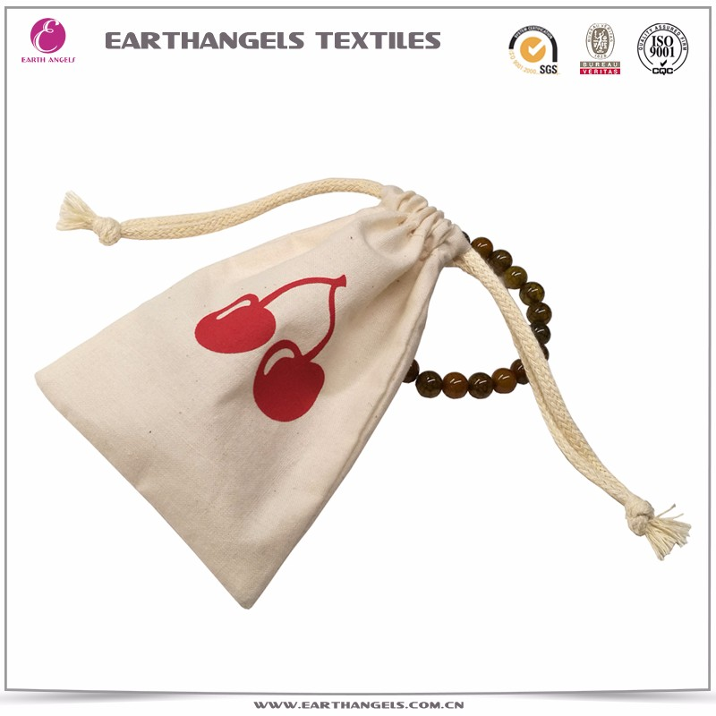 Custom cotton drawstring pouch bag for jewelry gift with logo