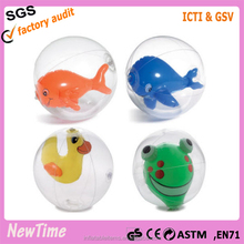 inflatable beach ball,transparent with animal inside