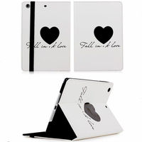 New coming sweet loving heart pattern book stand leather case for iPad mini 2