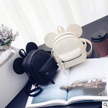 Girls Backpacks 2017 New Korean Cute Cartoon Mickey Design Backpack Fashion Zipper Pink Black Girls HandBags with Ear