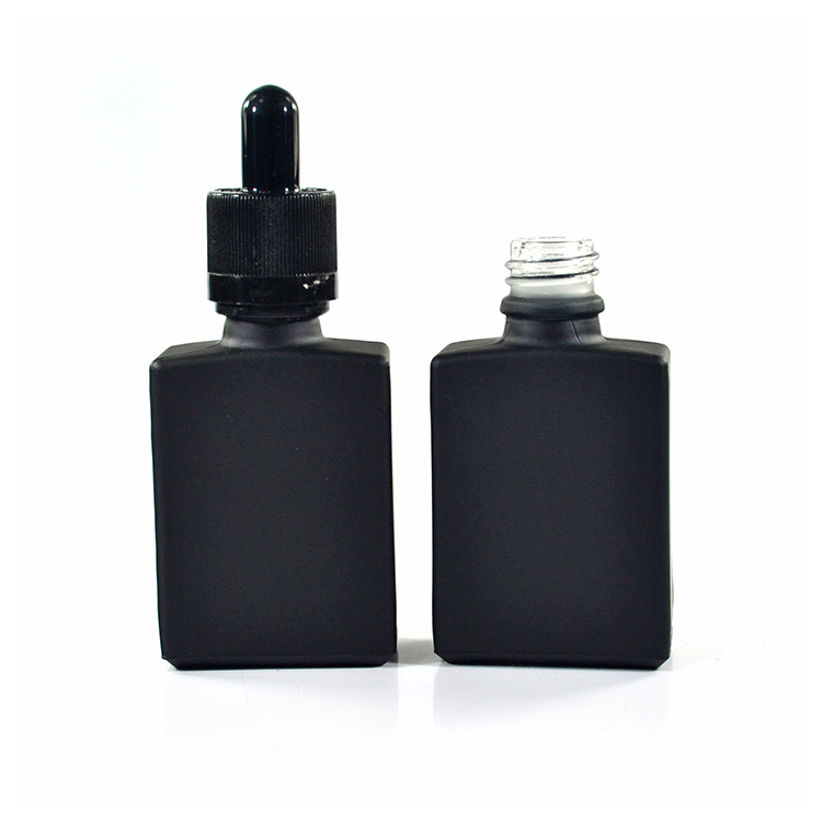 30ml matt black square rectangular glass e liquid dropper bottle