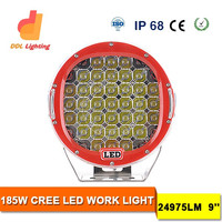 round 9inch 185w led driving light led car lighting extra lights for car offroad truck auto