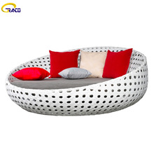 Luxury terrace outdoor round rattan daybed