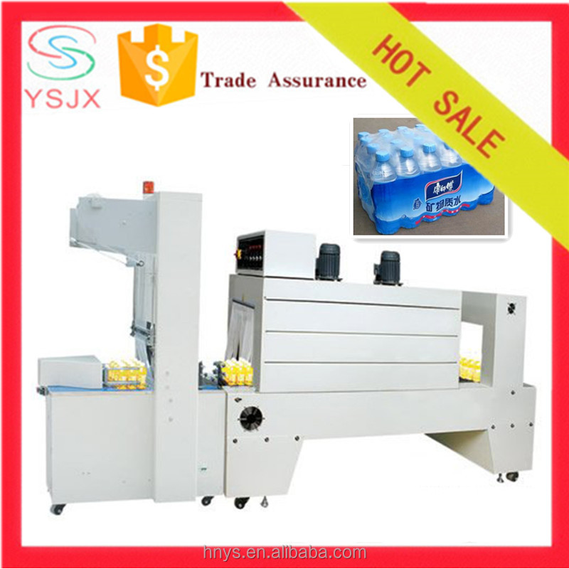 Semi automatic PE film shrink wrapping packing machine for plastic bottles