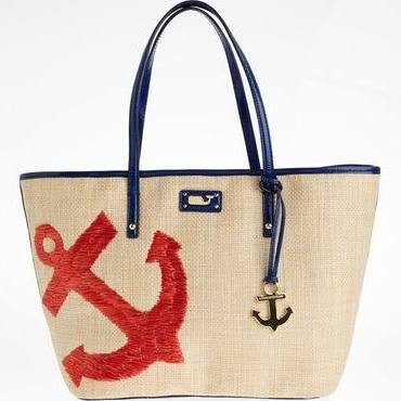 Vine_yard_Vines Women's An_chor Straw Tote Bag : Red