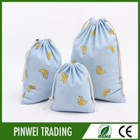 cotton linen cloth drawstring bag for shopping
