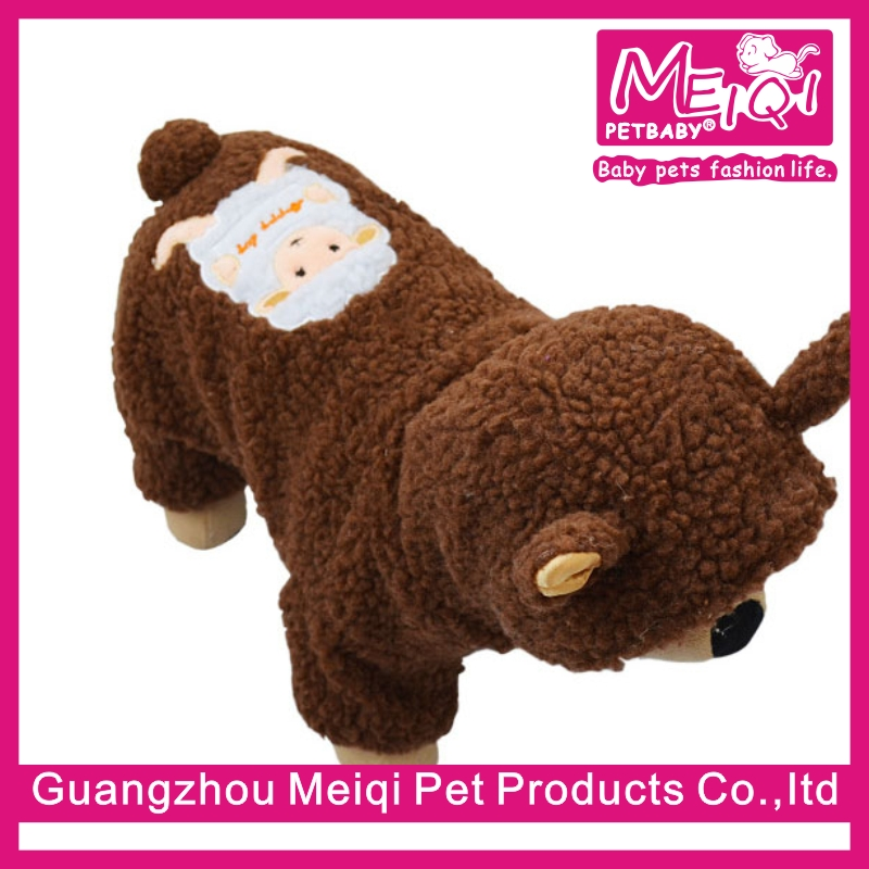 Hot selling sheep shaped pet clothes winter warm pet jumpsuit