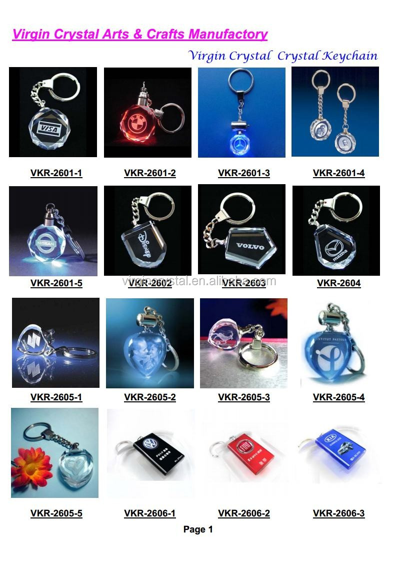 Wholesale 3D Laser Engraved Butterfly Crystal Cube Keychain with LED light For Wedding Gift