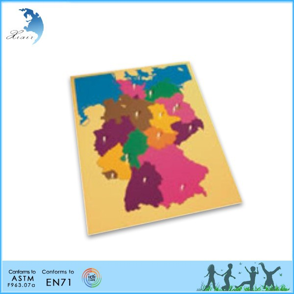 Popular EN71 Wooden Educational Montessori Material Puzzle Map of Australia geography Toy