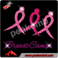 Wholesale Breast Cancer Rhinestones Decal Ribbon Iron on Glitters Transfer