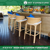 2016 New Design Modern Commercial Hospitality Rattan Wicker Bar Stool Chair Set
